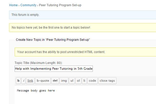 peer tutoring discussion forum topic